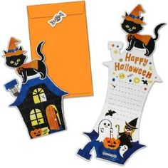 Free printable - Halloween black cat card and envelope halloween printouts printables Halloween Treat Holders, Diy Halloween Gifts, Halloween Paper Crafts, Manualidades Halloween, Halloween Cards, Halloween Ideas, Origami Halloween Decorations, Paper Decorations, Origami Pumpkin