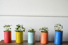 painted tin can flower pots. pretty for spring!
