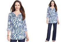 JM Collection Zebra-Print Button-Down Linen Shirt