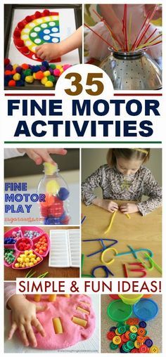 35 simple and engaging fine motor activities for kids; lots of fun ideas that can be set up in seconds! 35 simple and engaging fine motor activities for kids; lots of fun ideas that can be set up in seconds! Fine Motor Activities For Kids, Motor Skills Activities, Montessori Activities, Gross Motor Skills, Infant Activities, Craft Activities, Fine Motor Activity, Aba Therapy Activities, Preschool Fine Motor Skills