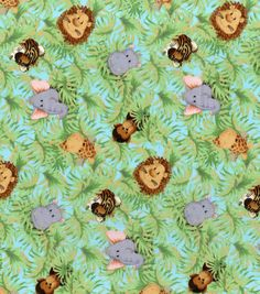 Nursery Print Fabric Jungle Babies A/O at Joann.com