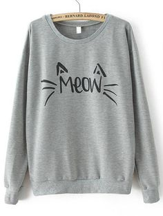 Love cute cat absolutely ? Find for this adorable sweatshirt at Romwe .This is a cotton sweat shirt ,pullover in grey one .So lovely ,it's it ?