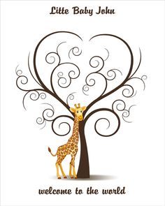 Baby Shower Guest Book Giraffe Fingerprint by CustombyBernolli