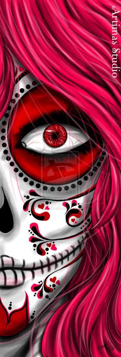 ☆ Pink Death :¦: Artist Artimas Mioray ☆ This would be so cool to draw! It'd be pretty easy too, especially since you wouldn't have to draw the other eye. Sugar Skull Mädchen, Catrina Tattoo, Day Of The Dead Skull, Design Tattoo, Candy Skulls, Art Et Illustration, Mexican Art, Mexican Skulls, Skull Art