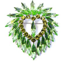 Stunning Gorgeous Green Crystal Heart Pin Brooch Pendant For St. Patrick'S Day