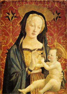 Domenico Veneziano (ca.1410-1461) ~ Madonna and Child ~ Domenico Veneziano or Domenico di Bartolomeo, was an Italian painter of the early Renaissance, active mostly in Perugia and Tuscany. Little is known of his birth, though he is thought to have been born in Venice, hence his last name. A pupil of Gentile da Fabriano, he is said to have worked with Pisanello in Rome around 1423-1430 and his work was influenced by the style of Benozzo Gozzoli.
