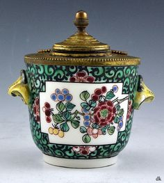 Mouse over image to zoom Have one to sell? Sell it yourself Antique Samson Porcelain Brass/Bronze Inkwell Floral