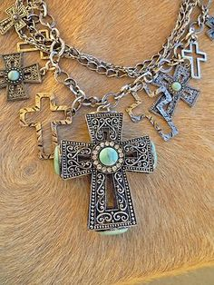 Cowgirl Bling Gypsy Southwestern Scroll CROSS charms TURQUOISE necklace set www.baharanchwesternwear.com baha ranch western wear ebay seller id soloedition