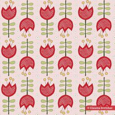 Floral Fabric, Floral Prints, Red Tulips, Retro Flowers, Home Decor Fabric, Fabric Shop, Surface Pattern, Textile Design, Spoonflower