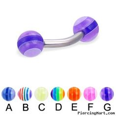 Curved barbell with acrylic layered balls, 12 ga Eyebrow Ring, Cool Items, Barbell, Eyebrows, Layers, Breast Cancer, Rings, Balls, Layering