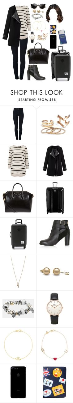 """""""ORL (back home)"""" by ittgirl ❤ liked on Polyvore featuring STELLA McCARTNEY, Warehouse, Givenchy, Tumi, Herschel Supply Co., Topshop, Minor Obsessions, Pandora, Jennifer Meyer Jewelry and Alison Lou"""