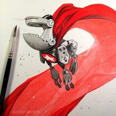 CreatureBox • Inktober Day 6: SuperBot grossly miscalculated the...