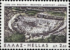Stamp: 2500 Years Theatre - The Dionyssos Theatre, Athens (Greece) (Greek Culture) Mi:GR 932 Athens Acropolis, Athens Greece, Greek Culture, Stamp Collecting, Postage Stamps, City Photo, Around The Worlds, Antiques, Andorra