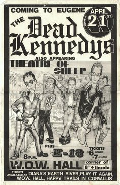 Dead Kennedys, Theatre of Sheep Music Flyer, Concert Flyer, Rock Posters, Band Posters, Music Posters, Posters Diy, Retro Posters, Vintage Posters, New Wave