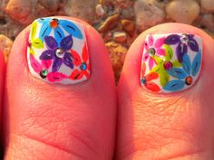summer flowers, toe nail art, spring nails, flower nails, nail art designs, nail arts, toe nail designs, art flowers, art nails