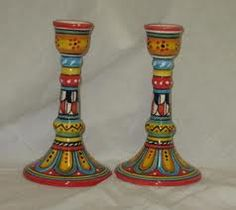 painted candlesticks - Google Search Hand Painted Chairs, Funky Painted Furniture, Recycled Furniture, Painted Lamp, Painted Wood, Diy Furniture, Painting Lamps, Pottery Painting, Painting On Wood