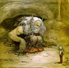 "John Bauer, ""The Troll and the Boy,"" illustration from ""Bland tomtar och troll"" (Among Gnomes and Trolls) -- Nationalmuseum, Stockholm John Bauer, Kobold, Children's Book Illustration, Folklore, Faeries, Illustrators, Fantasy Art, Fairy Tales, Lion Sculpture"