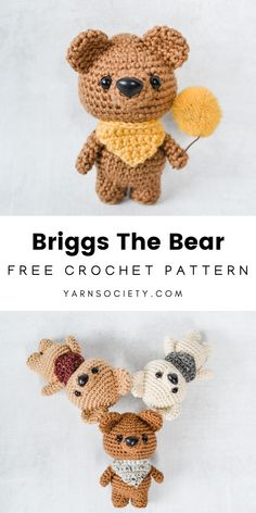 Amigurumi Bear Crochet Pattern - Free Briggs The Bear is a fun amigurumi project that is great for beginner to advanced crocheters. Design this cuddly bear in any color. Crochet Whale, Crochet Bee, Crochet Amigurumi Free Patterns, Crochet Teddy, Crochet Animal Patterns, Crochet Bunny, Stuffed Animal Patterns, Cute Crochet, Crochet Dolls