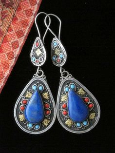 Afghani Silver (80%) and Lapis Lazuli Earrings - Laghmani Dangles | Handcrafted by Artisans living in Peshawar along the Afghan Border using the prized deep blue lapis lazuli found locally.