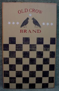 Primitive Wood Game Board  OLD CROW BRAND by CreekSideCountry