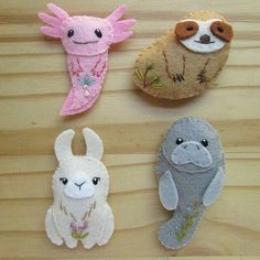 DIY mini felt plush pattern PDF by Aimee Ray. These are some of my favorite unusual animals, axolotl, sloth, llama and manatee. What is yours? The instant download pattern is at www.littledear.etsy.com