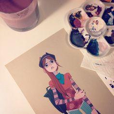 anna-cattish:🌸🎀 Last piece! Sale starts soon! Anna Cattish, Character Concept, Concept Art, Character Design, Art Watercolor, Watercolor Illustration, Ap Studio Art, Arte Sketchbook, Creative Skills