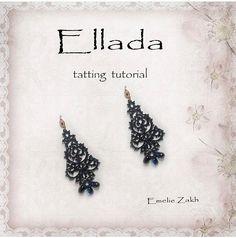 Black lace earrings frivolite tutorial Holiday tatting