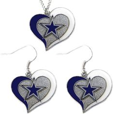 """Bundle & Save! - Great for every female fan out there! - Officially licensed NFL product! - Necklace chain is 18"""" long! When you buy this beautiful earrings and necklace set, you will be getting the b"""