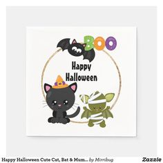 Happy Halloween Cute Cat, Bat & Mummy Boo Napkins Cloth Napkins, Paper Napkins, Happy Halloween, Halloween Emoji, Halloween Ideas, Party Hats, Aesthetic Wallpapers, Back To School, Cauldron