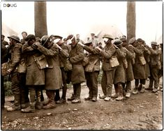 British (West Lancashire) Division troops blinded by a gas attack, await treatment at an Advanced Dressing Station near Bethune during the Battle of Estaires, Nord-Pas-de-Calais on the of 10 April part of the German offensive in Flanders. History Online, Art History, World War One, First World, Commonwealth, Spring Offensive, British Soldier, Canadian Soldiers, British Army