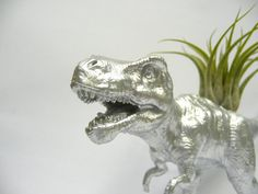 Silver T-rex Dinosaur Planter with Air Plant by WhatJesseDid