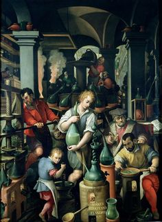 Alchemist's Workshop, by Jan Van der Straet (known as Giovanni Stradano, 1523-1605). Studiolo (small study) of Francesco I, Palazzo Vecchio, Florence. Italy, 16th century. (Dated 1570)