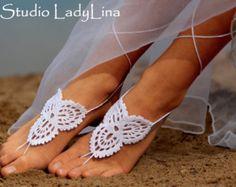 Blanco descalzo sandalias Crochet zapatos Nude por LadyAlinaShop