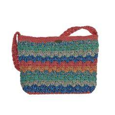 "Cappelli Straworld Inc Crochet Multi Bag  BAG985  Material:  Cotton Blend  Details:  Crocheted Handles, Lined, Inner Zip Pocket, 2-Open Wall Pockets, Zip Closure  Size:  12""W x 9 1/2""H x 4 1/2""B"