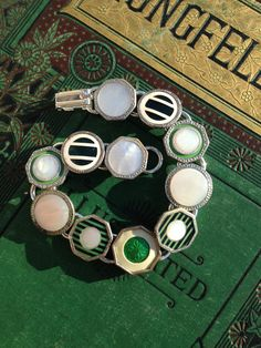 Antique Cufflink Bracelet greens and silver by OldNouveau on Etsy