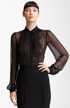 Ok, this appeals to the sexy librarian, the naughty schoolteacher and the dominatrix in me lol!  Dolce Sheer Chiffon Blouse available at #Nordstrom