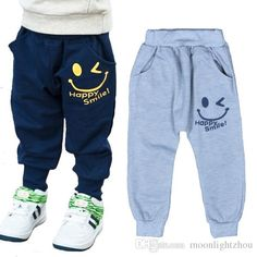 9534d214e Retail Baby Boys Smile Pants 2016 Cartoon Children Harem Pants Letter  Printing Girls Sport Trousers Unique Smiling Kids Clothing Gray Navy