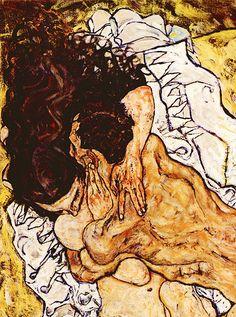 Egon Schiele: (detail) The Embrace, Medium unknown. Expressionism.