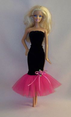 Handmade Barbie Clothes-Black Velvet Gown with Pink Tulle Handmade . Handmade Barbie Clothes-Black Velvet G. Sewing Barbie Clothes, Barbie Sewing Patterns, Doll Clothes Patterns, Dress Patterns, Dress Sewing, Barbie Outfits, Barbie Gowns, Barbie Dress, Barbie Doll
