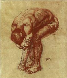 'Studie zum Inferno' (Study for Inferno) by Franz von Stuck, 1908. Sanguine and charcoal on paper.