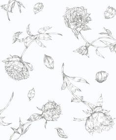 Mandaleen by Sandberg - White - Wallpaper : Wallpaper Direct Grey Floral Wallpaper, Vintage Floral Wallpapers, Wallpaper Size, Flower Wallpaper, Pattern Wallpaper, House Drawing, William Morris, Designer Wallpaper, Historia