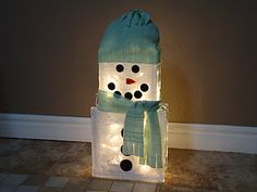 Crafty Snowman - glass blocks + lights + embellishments