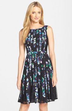 Adrianna Papell Print Chiffon Fit & Flare Dress