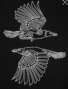 "Hugin und Munin sind in der nordischen Mythologie die beiden Raben Odins, der au… Hugin and Munin are in Norse mythology, the two ravens Odin, who also bears the nickname Hrafnáss ""Rabengott"". Art Viking, Viking Raven, Viking Symbols, Mayan Symbols, Egyptian Symbols, Ancient Symbols, Celtic Raven, Norse Tattoo, Viking Tattoos"