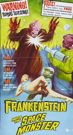"""""""Frankenstein Meets the Spacemonster"""" (1965) - Free Shield Eye Protectors To Prevent Your Abduction Into Outer Space"""