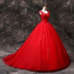 Produkttitel: Rund Ausschnitt Applique Rot lang Tüll Brautkleid- Shopname: EinfachKleider  Schnürung Hochzeitskleid •Verwendete Materialien Tüll •Farbe Rot(Alle Farbe von der Farbe-Karte können...
