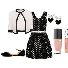 """Cuteness with polka dots"" by fashionrun on Polyvore"