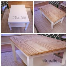 Going rustic coastal Table Makeover Coastal Hack IKEA Lack Rustic Table Lack Table Hack, Coffee Table Hacks, Ikea Lack Coffee Table, Ikea Side Table, Coffee Table Makeover, Ikea Lack Hack, Ikea Dining Table Hack, Diy Furniture Redo, Diy Furniture Projects