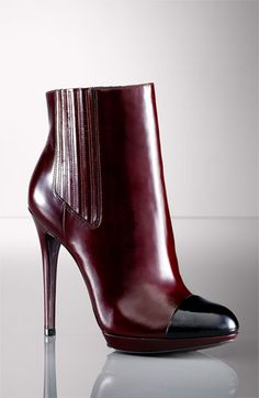 B Brian Atwood 'Fragola' Boot in shiny black & burgundy