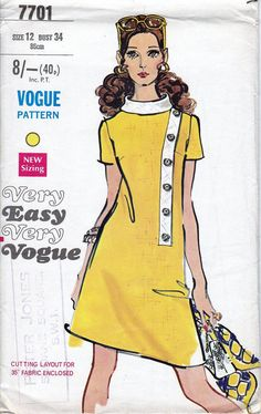 70s Very Easy Very Vogue sewing patterns 7701, dress sewing pattern, bust 34 inches, side front bias band. Misses and Womens One-Piece Dress. Slightly fitted A-line dress has contrast bias turn-over collar and side front bias band with button trim. Short Sleeves. 7 pieces. Published in 1970s. NO MATERIALS Condition: Pattern has been fully checked and is complete with instructions. Pattern is partially cut. In quite good condition. Size: Bust 34 inches Waist 25½ inches Hip 36 inches
